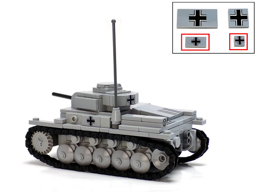 Panzerbricks' Pz II Ausf F with 11x1 & 1x2 printed tiles