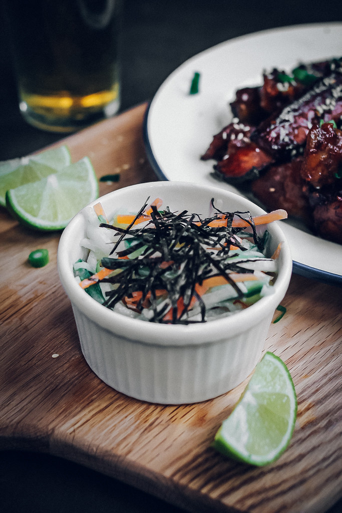 Sweet Sticky Pork Ribs & Daikon, Carrot, Cucumber Salad