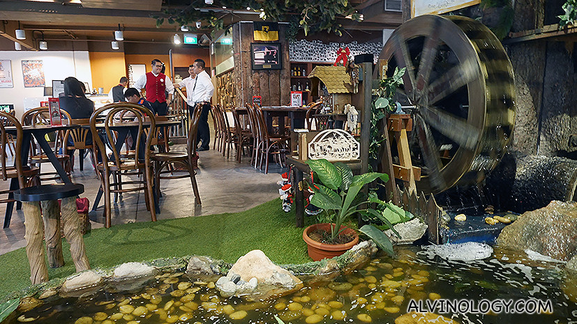 There's small water mill in the restaurant