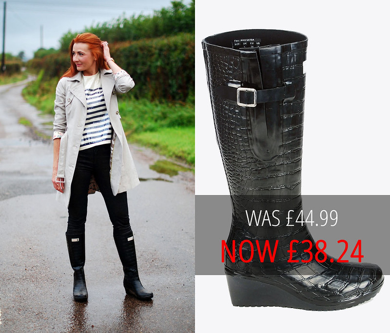 Sale: Wedge Welly Maneater Flex Black Wellington Boots