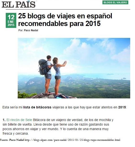 Los blogs de viajes más recomendables en español según El País