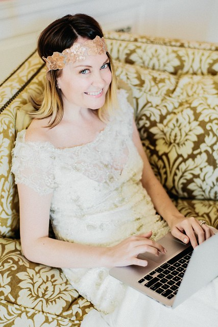 Blogging in a beaded dress by Kelly Sauer