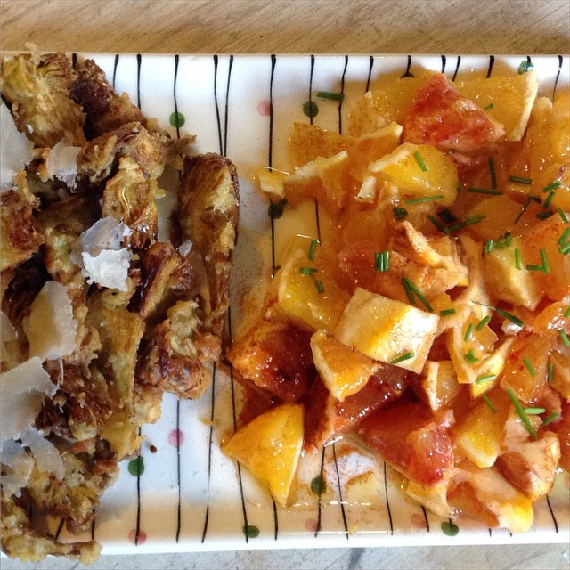 Fried artichokes with parmesan and sicilian orange salad #lunch