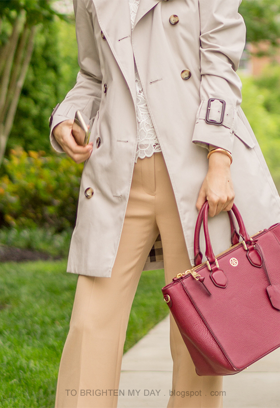 trench coat, lace top, camel trousers, burgundy red tote, rose gold jewelry