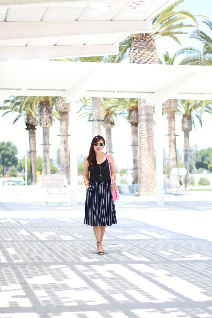 style, miriam gin, simplyxclassic, forever21, striped skirt, black and white outfit, furls shoulder bag, hot pink bag, blogger, fashion