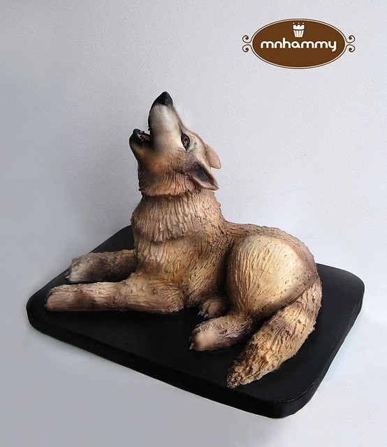 Sculpted Howling Wolf Cake by Sofia Salvador of Mnhammy