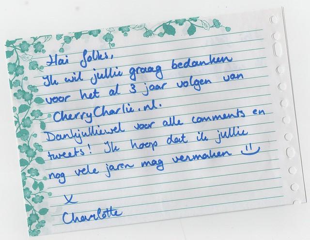 30 day blog tag dag 24: hanschrift. Een bedankbriefje van CherryCharlie aan haar lezers.