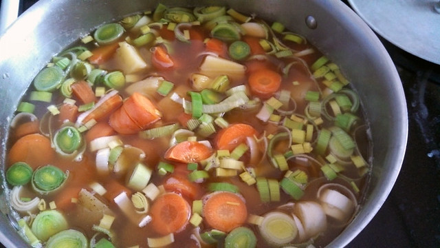 The beginning of stew
