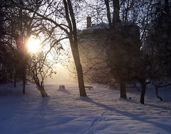 Castle in the winter sun