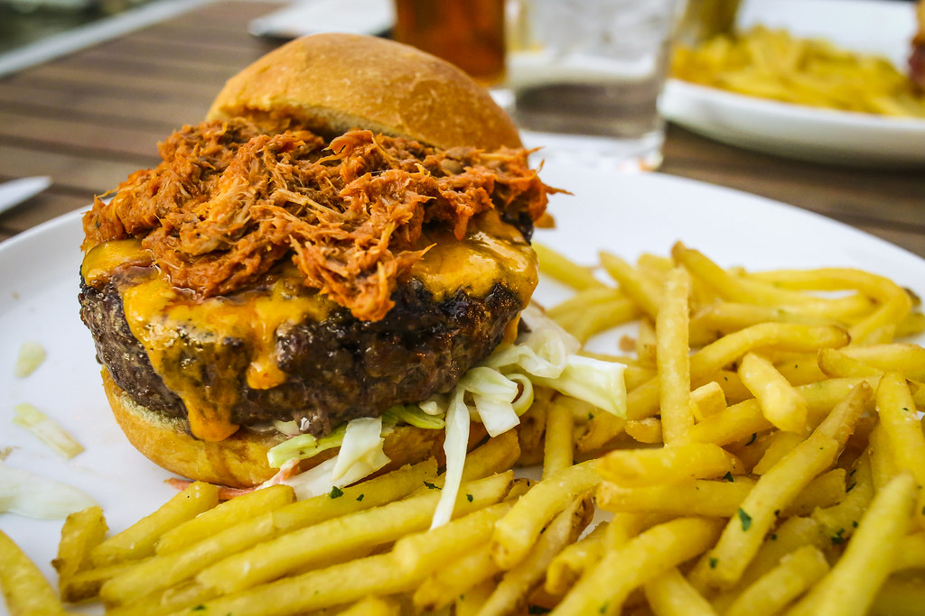 BBQ Pulled Chicken Burger with Cheddar, and Slaw