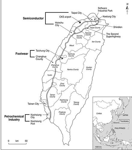 台灣產業分布,北台灣為加工出口業,中部為傳統鞋業,南部則是石化工業。圖片來源:梧桐環境整合基金會