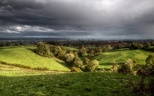 green clouds rural landscape countryside stormy somerset farmland fields hillside quantocks aonb quantockhills eveningsunshine netherstowey coleridgeway bincombe walfordsgibbet