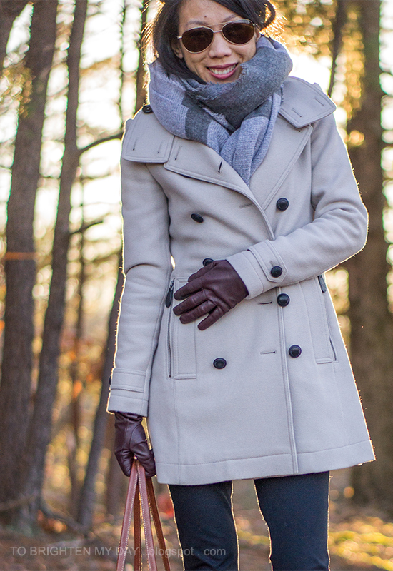plaid scarf, wool trench coat, dark purple gloves