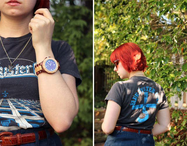 Vintage Concert Tee, Wood Watch, and Short Red Hair