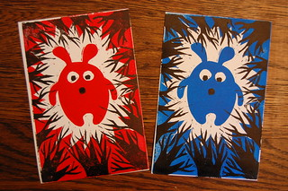 Worried Bunny - Red and Blue Block Prints - Phase 2