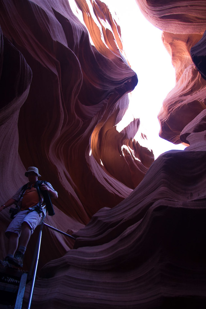 Metal stairs in Lower Antelope Canyon