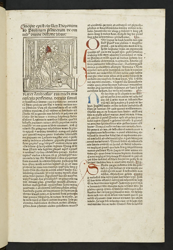 Historiated woodcut initial in Biblia latina