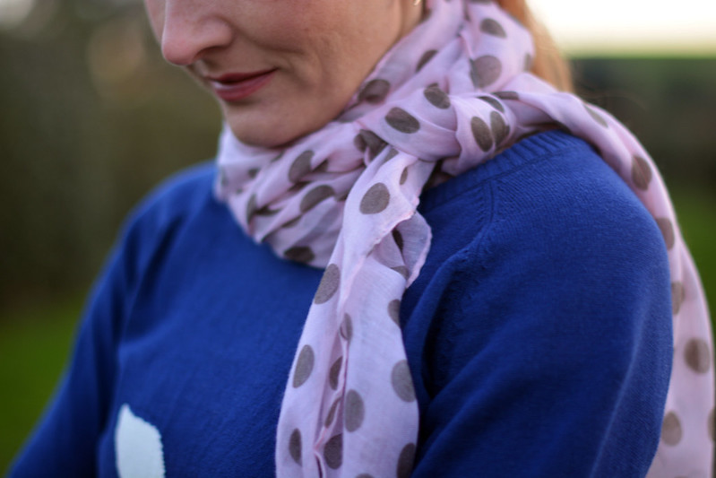 Pink polka dot scarf with navy