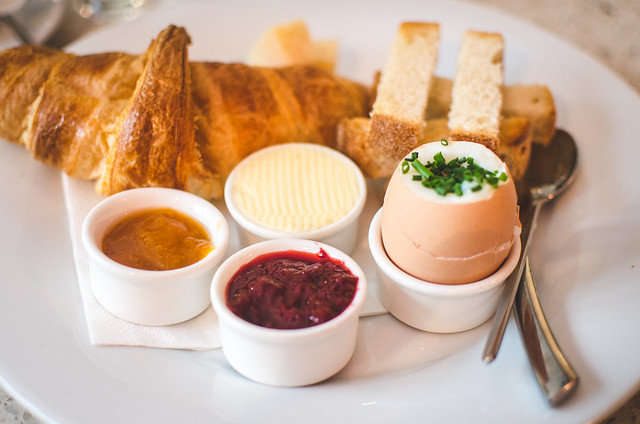 An elegant breakfast at Pastacaffé in Prague.