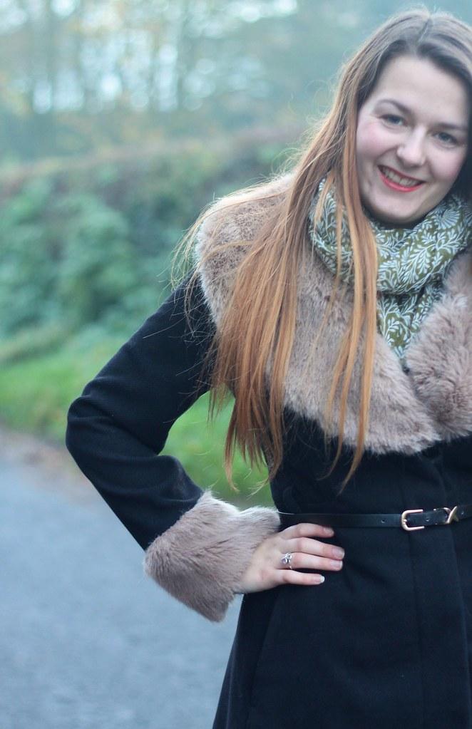 Fur collar & cuffs coat