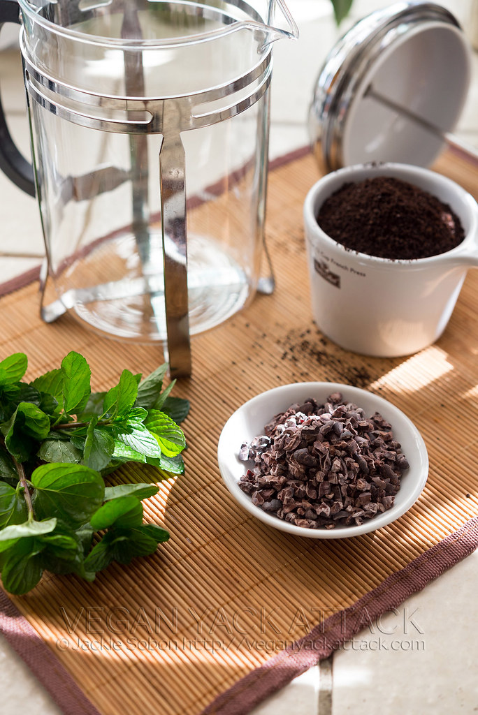 Cacao Nibs, Mint and Coffee Grounds