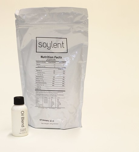 Stitch purchased quite a few bags of (v1.1) Soylent from www.soylent.me and put it up for sale in the 0xFEB0 vending machine at Hackerspace Hack42. I purchased a bag (this one, actually).