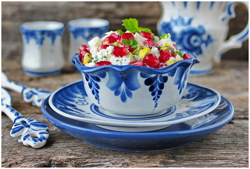 ...cheese salad with pomegranate