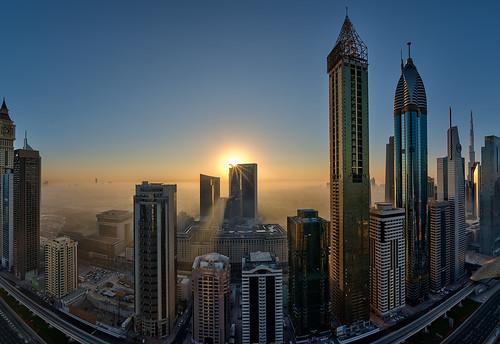 road mist sunrise nikon dubai uae fisheye zayed sheikh hdr d810 nikkor16mmf28fisheye