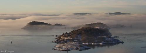 winter mist oslo island view bleikøya
