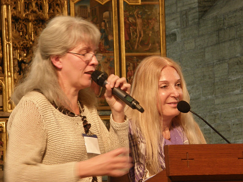Photos from Vassula's speech at the Church of St. Birgitta