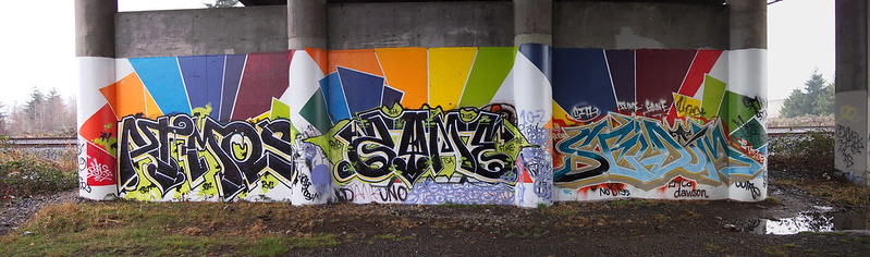 Graffiti: Under the SR-18 bridge on the Interurban Trail