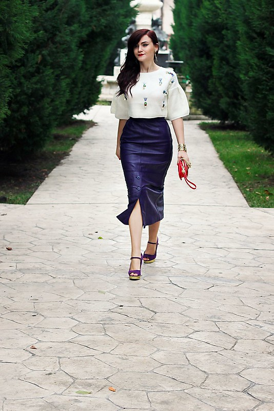 purple leather skirt2,vintage skirt,leather skirt,sheinside sweater