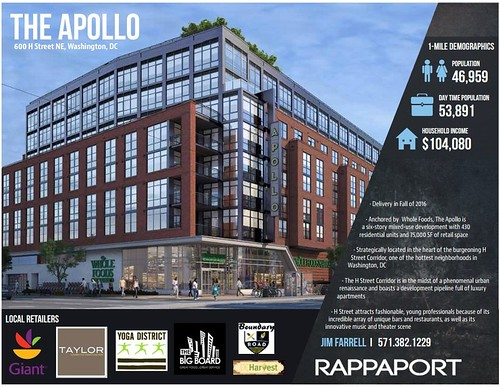 Apollo mixed use residential and retail project, 600 H Street NE, Washington, DC