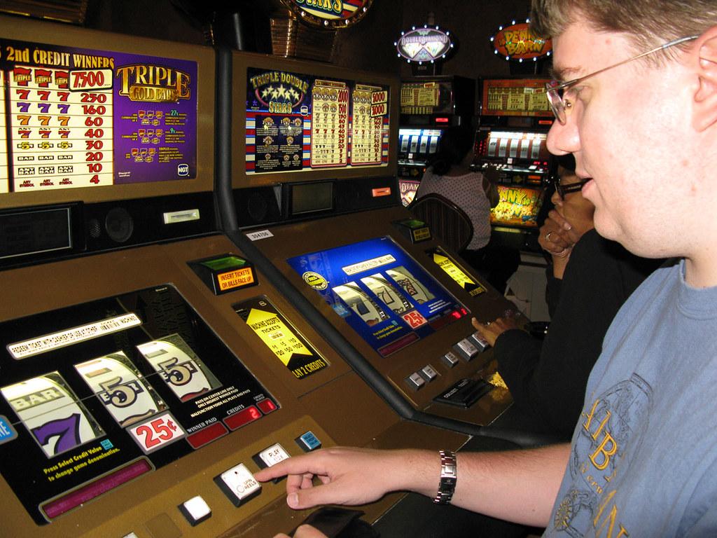 Playing slot machines in Las Vegas