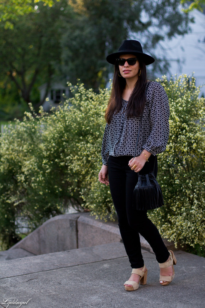 joie blouse, black jeans, fringe bag, wool felt hat-1.jpg