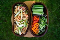 Spicy peanut noodle salad bento.