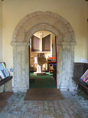 south doorway, font, organ