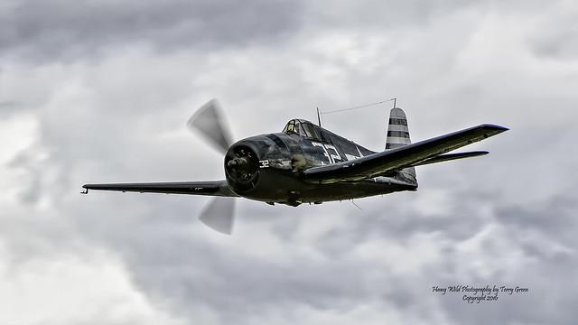 Carter Teeters piloting the Flying Heritage Collections Grumman F6F-5 Hellcat on 07.07.2016 as part of the 2016 Arlington Fly In, Arlington Municipal Airport KAWO, Arlington Washington.