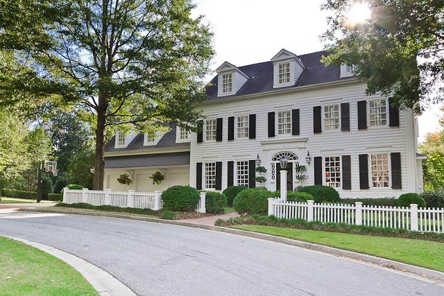 Things that inspire a classic white house black shutters for Custom colonial homes