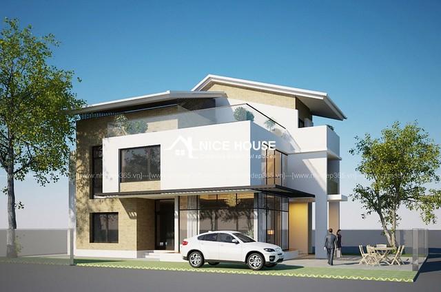 Thiết kế biệt thự 2 tầng hiện đại trên đất 9x14m