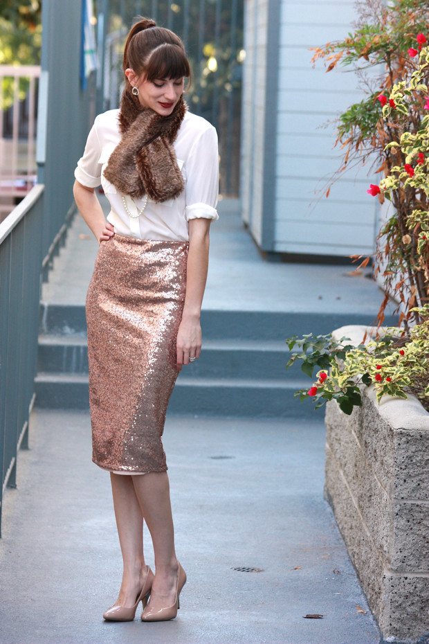 Sequin Midi Skirt, Holiday outfit