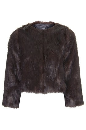 topshop luxe faux fur jacket brown
