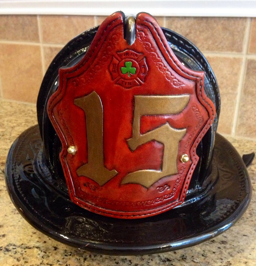 Custom fire helmet shield on a Sam Houston Helmet
