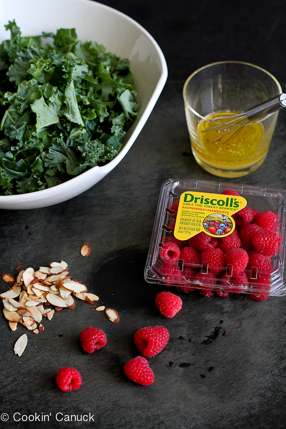 Kale Salad with Raspberries and Parmesan Crisps...A taste of summer at any time of the year! 138 calories and 4 Weight Watchers PP | cookincanuck.com #vegetarian #glutenfree #recipe #healthy