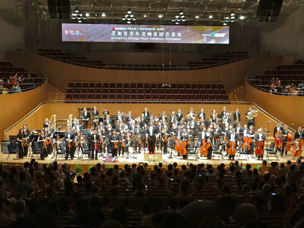 Chicago Youth Symphony Orchestra performs in the Shanghai Oriental Art Center