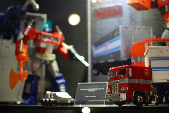 Optimus Prime figurines by private collector.