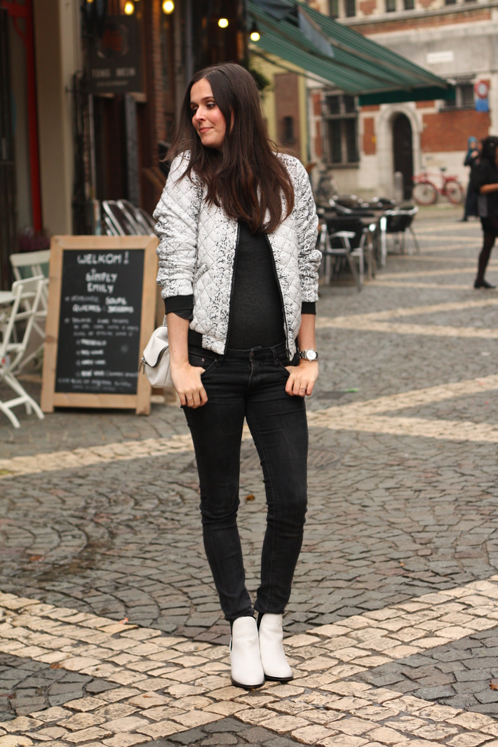 outfit bomber jacket black and white sam edelman boots