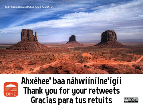 Ahxéhee' baa náhwíínílne'ígíí = Thank you for your retweets = Gracias para tus retuits @NativeInnovate @NavajoWeb