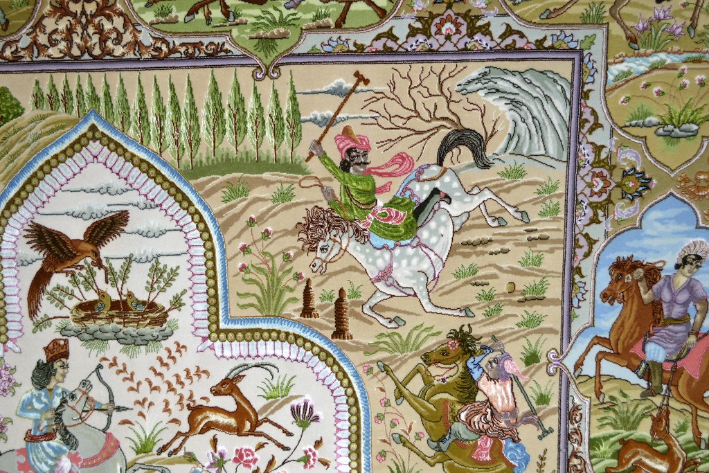 Tabriz 70 Raj - hunting scene Fine 7x10 (10)