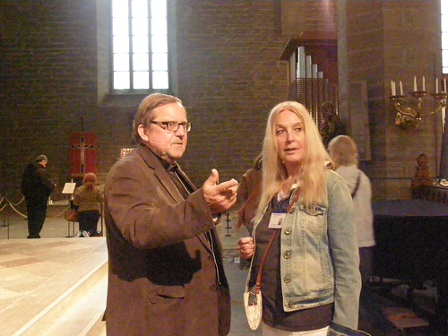 Vicar Fr. Torbjorn with Vassula in the church of St. Bringitas